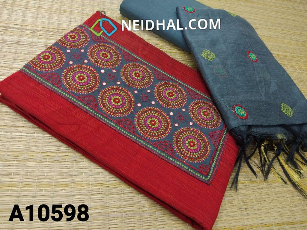 CODE A10598 : Red Silk Cotton unstitched salwar material(requires lining) with embroidery patch work on yoke, grey cotton bottom, embroidery work on silk cotton dupatta with tassels.