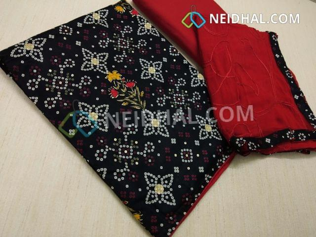 CODE R31: Bhandini printed Black cotton unstitched Salwar material, with golden prints, Red cotton bottom, Embroidery work on Red chiffon dupatta with taping