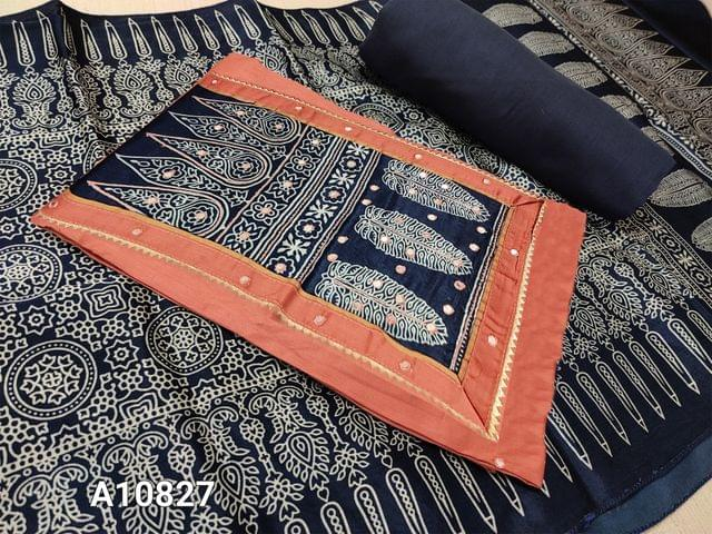 CODE A10827 :  Peach Satin Cotton unstitched salwar material(requires lining) with printed work on yoke, faux mirror work on front side, daman patch,  blue cotton bottom, printed satin silk stole.