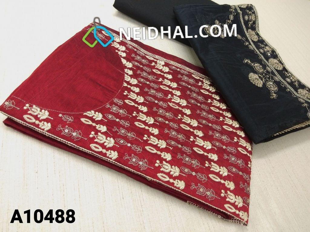 CODE A10488 :  Red Silk Cotton unstitched salwar material(requires lining) with heavy embroidery work on yoke, black cotton bottom, embroidery and sequence work on silk cotton dupatta with tapings.