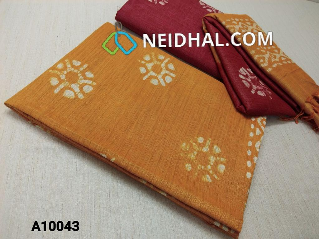 CODE A10043 : Batik Printed Yellow cotton silk(thick fabric, lining not required), Red Bhagalpuri cotton silk with prints at bottom side, Dual color Bhagalpuri Cotton silk dupatta with batick prints and tassels.
