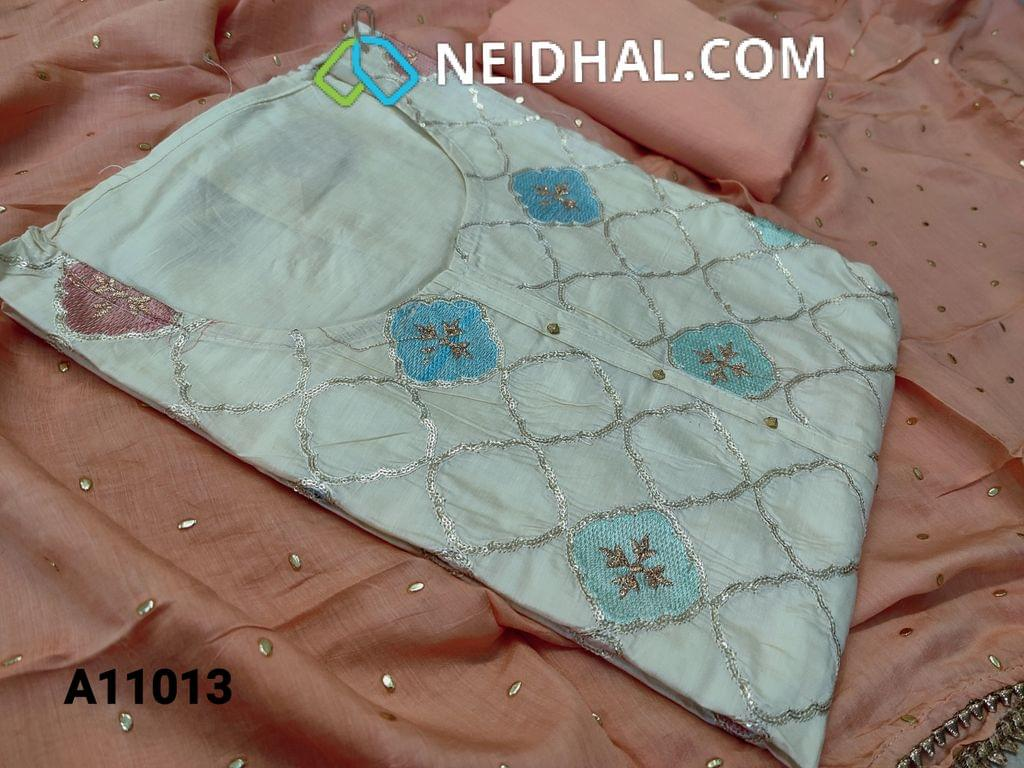 CODE A11013 : Designer Cream Silk Cotton unstitched salwar material(requires lining) with zari and thread embroidery work on front side, plain back side, drum dyed peach cotton bottom, golden dew drops on short width