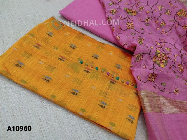 CODE A10960 : Colourful thred weaving on Yellow Silk Cotton unstitched salwar material(requires lining) with potli buttons on yoke, pink drum dyed cotton bottom, embroidery work on silk cotton dupatta with tassels