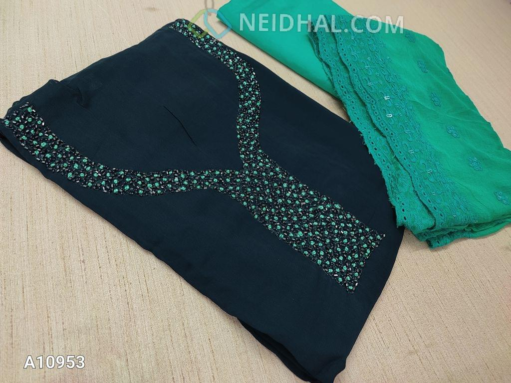 CODE A10953 : Designer Blue Georgette unsitched salwar material(requires lining) with Heavy french knot, pipe and bead work on yoke, daman taping, sea green Silk cotton bottom, Heavy thread and sequins work on sea green Chiffon duaptta with laces.
