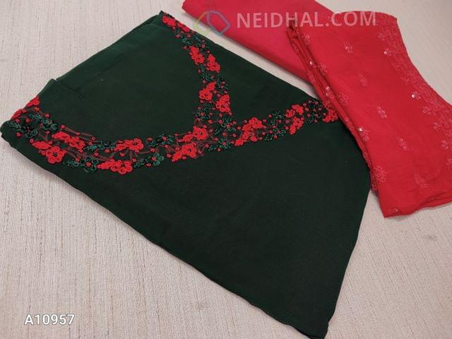 CODE A10957 : Designer Green Georgette unsitched salwar material(requires lining) with Heavy french knot, thread work on yoke, daman taping, red Silk cotton bottom, Heavy thread and sequins work on red Chiffon duaptta with laces.
