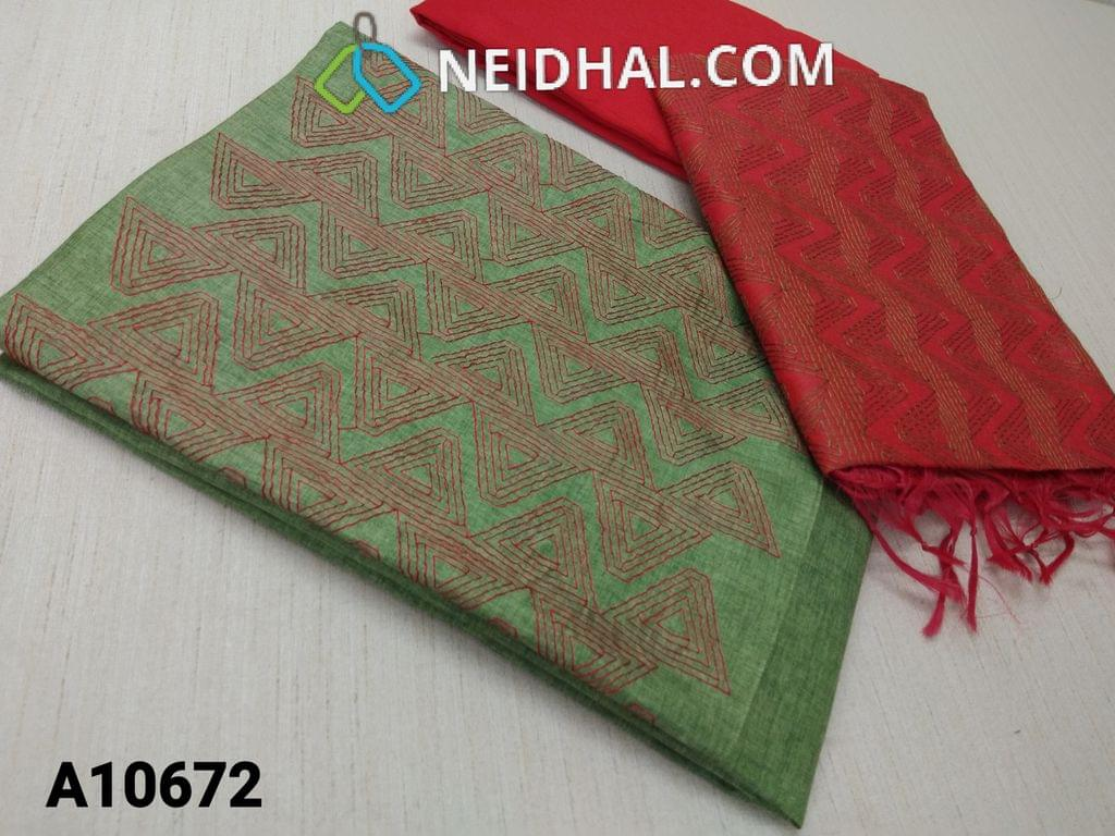 CODE A10672 : Green Silk Cotton unstitched salwar material(requires lining) with thread work on yoke, red silk cotton bottom, thred work on red silk cotton dupatta with tassels