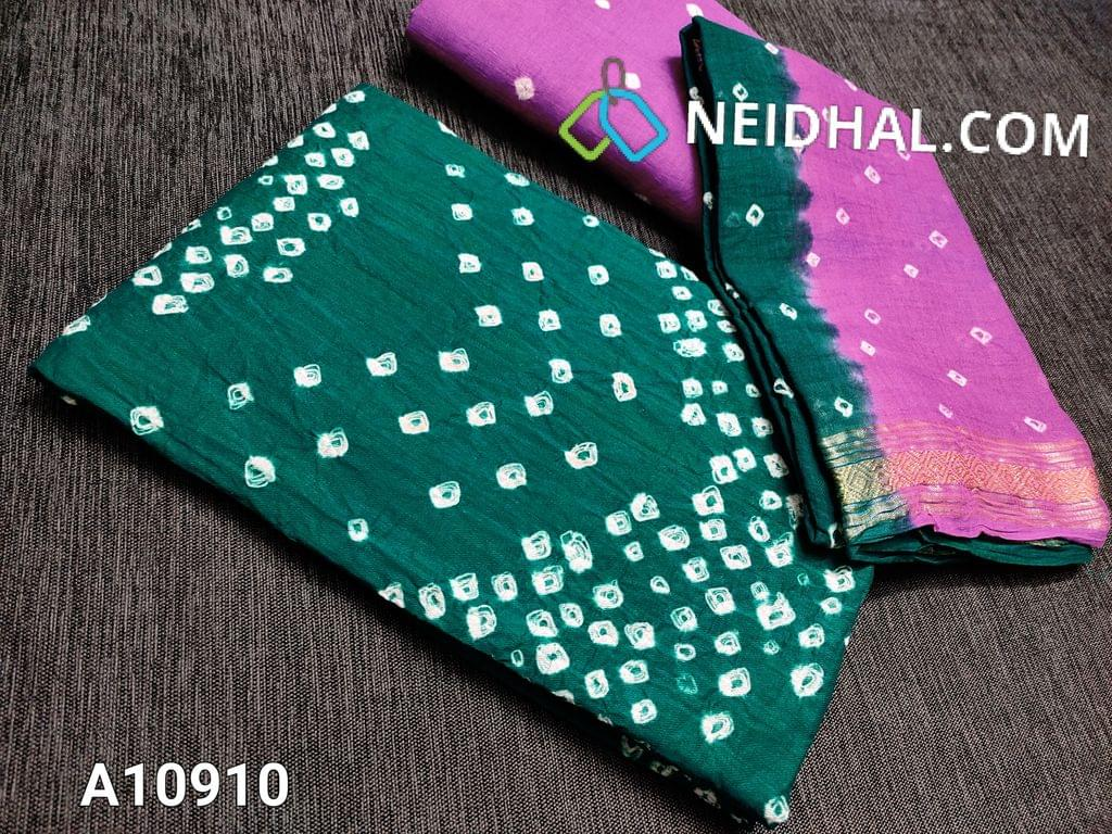 CODE A10910 : Teal Green cotton unstitched salwar material with Bandhani tie and dye(requires lining) , purpleish pink cotton bottom with bandhani tie and dye , Dual color  soft Cotton dupatta with bandhani tie and dye, zari weaving border,.( taping requires to 2 edges)
