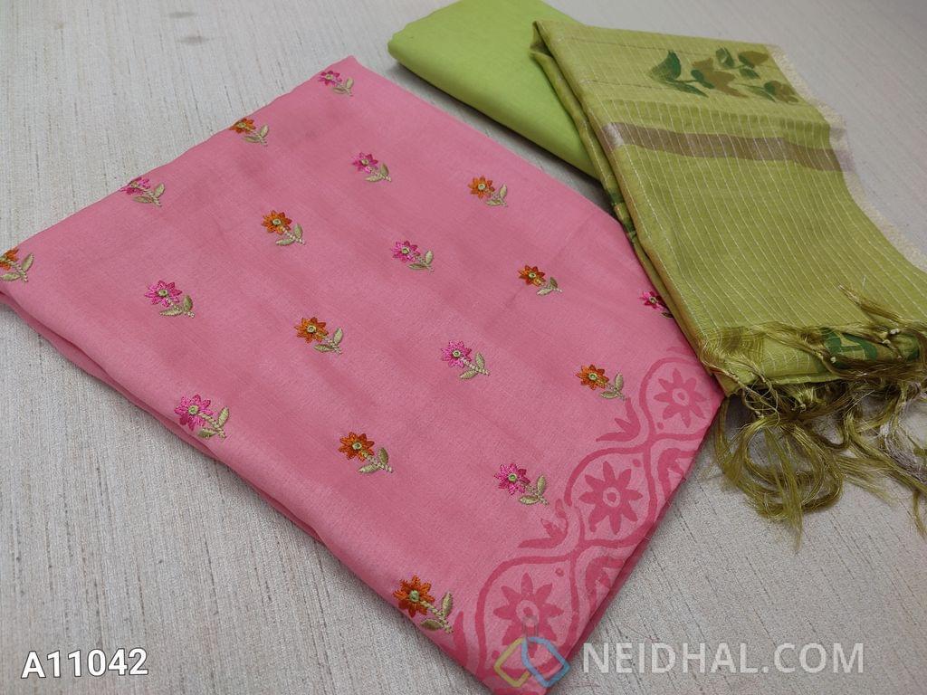 CODE A11042  :  Designer Light Pink Silk Cotton unstitched Salwar material(requires lining) with colorful embroidery work on front side, block printed at daman, plain back side, green cotton bottom, hand painted silk cotton dupatta with tassels.