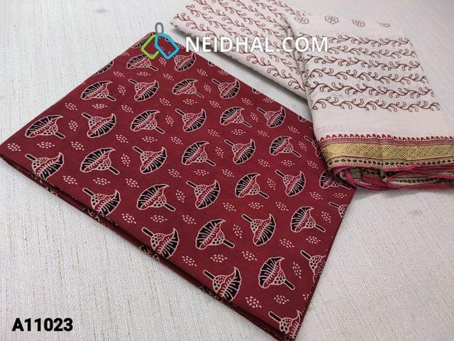 CODE A11023 : Block printed Maroon Cotton unstitched salwar material(requires lining),  printed light beige cotton bottom, printed cotton dupatta with zari borders(requires tapings)