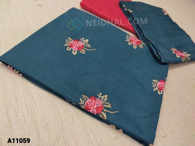 CODE A11059 :  Teal Blue Jute Flex unstitched salwar material(requires lining) with floral embroidery work on front side, plain back side, peachish pink silk cotton bottom, embroidery work on soft silk cotton dupatta with tassels