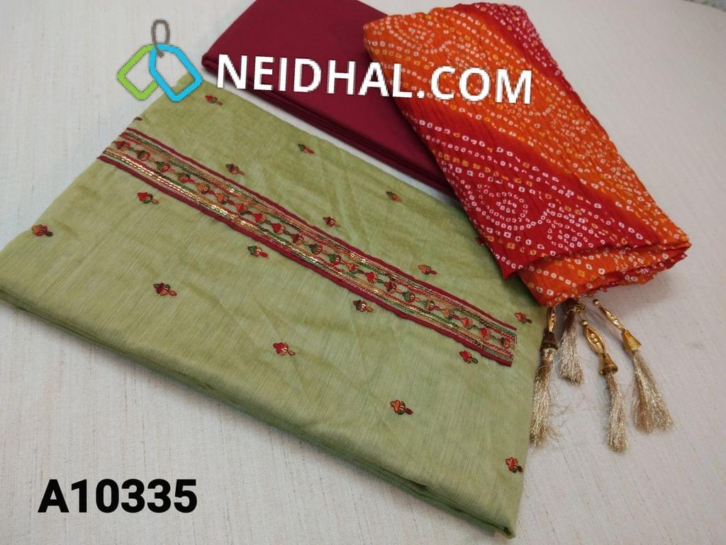 CODE A10335 : Light Green Silk Cotton Unstitched Salwar material(requires lining) with sequence and colourful thread work on front side, plain back side, daman patch, maroon cotton bottom, bhandhini printed crushed short width silk cotton dupatta with fancy  tapings