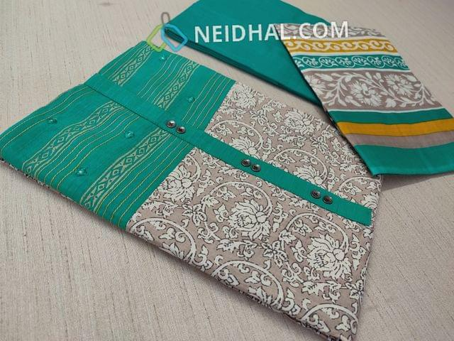 Beige Kalamkari printed Cotton unstitched Salwar material(requries lining) with Blue patch work on topline, fancy buttons, Blue Cotton bottom, printed cotton dupatta with tapings