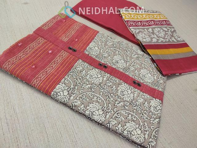 Beige Kalamkari printed Cotton unstitched Salwar material(requries lining) with red patch work on topline, fancy buttons, red Cotton bottom, printed cotton dupatta with tapings