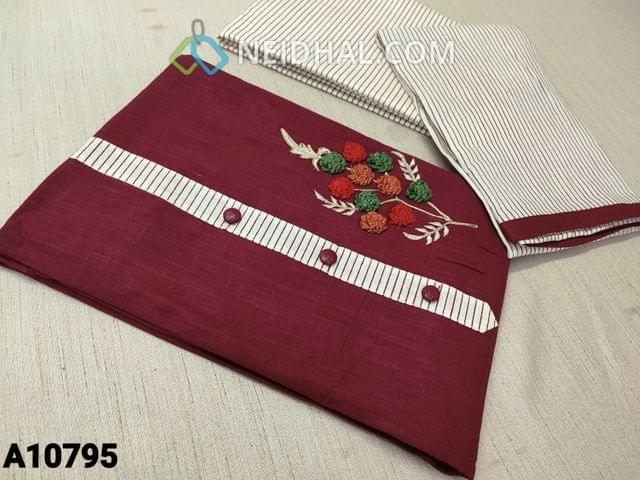 CODE  A10795 : Maroon Cotton Unstitched salwar material(requires lining) with embroidery work on yoke, daman patch, printed cotton bottom, printed cotton dupatta with tapings