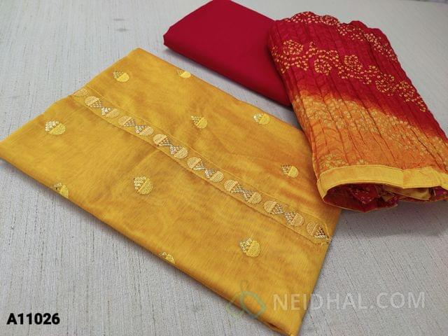 CODE A11026 :  Mango Yellow Silk Cotton Unstitched salwar material(requires lining) with thread and sequence work on front side, plain back, red cotton bottom, bandhini printed silk cotton dupatta with tapings
