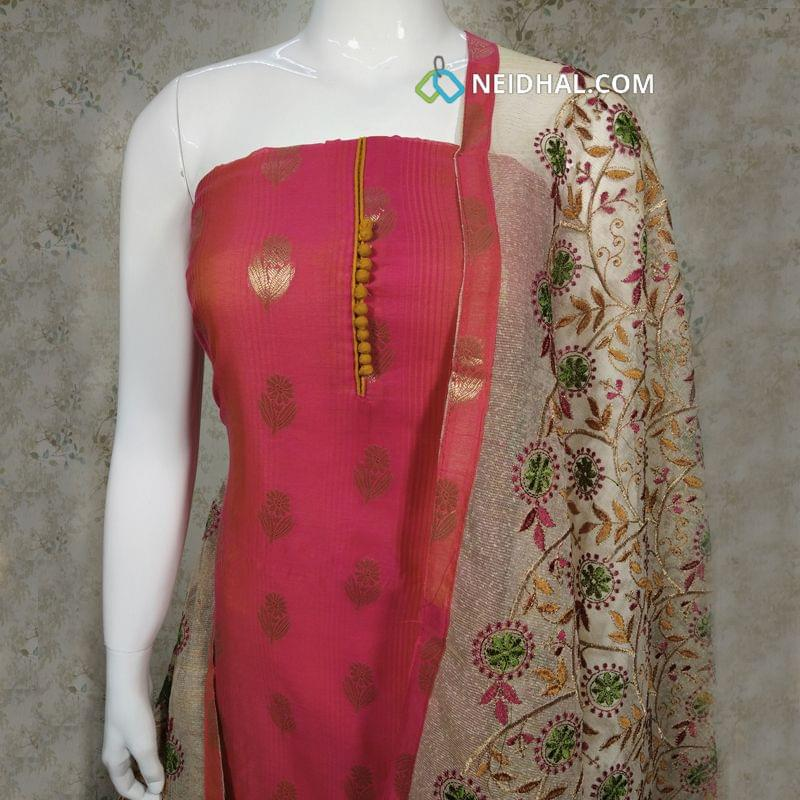 Designer Pink Silk Cotton unstitched Salwar material(requires lining) with zari thread weaving on front side, plain back side, potli buttons on yoke, fenu greek yellow cotton bottom, Heavy embroidery work on kora dupatta with tapings.