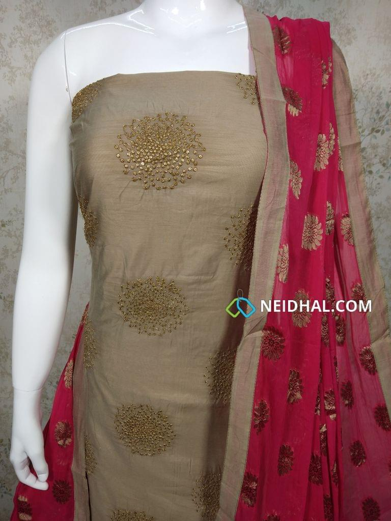 CODE : R9 Designer Beige Silk Cotton(requires lining) unstitched Salwar material with Zari thread work on front side, plain back side, Pink Silk cotton bottom, Zari thread embroidery work on pink chiffon dupatta with tapings.