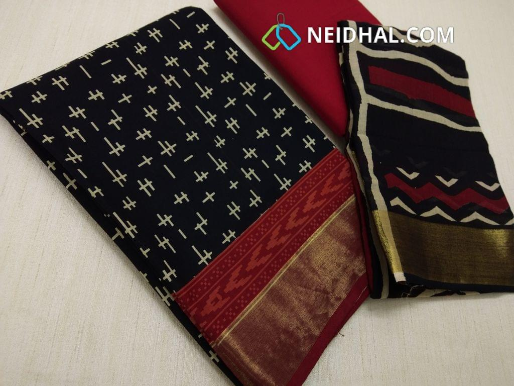 CODE R25 : Block Printed Black Cotton Unstitched salwar material(there might be variations in print alignment, density due to manual work) , daman patch,  Red Cotton Bottom, Block printed (there might be variations in print alignment, density due to manual work) cotton dupatta.(requires taping)