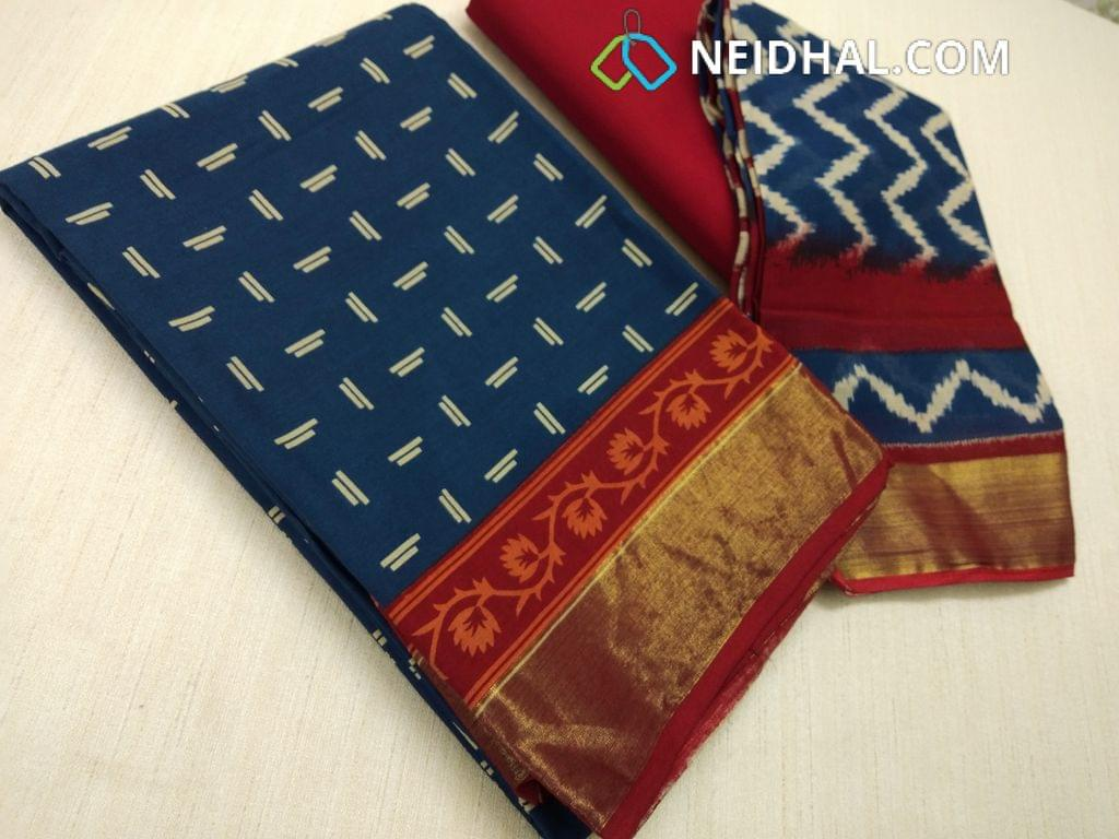 CODE: R 33 Block Printed Blue Cotton Unstitched salwar material(there might be variations in print alignment, density due to manual work) , daman patch,  red Cotton Bottom, Block printed (there might be variations in print alignment, density due to manual work) cotton dupatta.(requires taping)