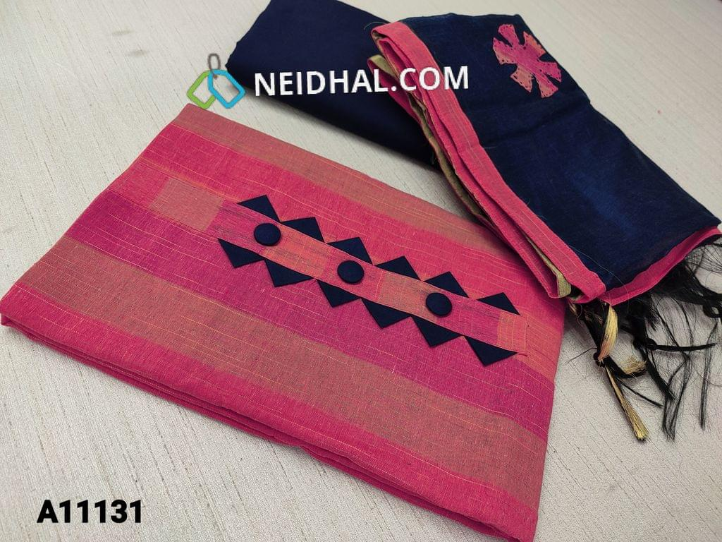 CODE A11131 : Striped Pink Silk Cotton unstitched salwar material(requires lining) with buttons on yoke, dark blue cotton bottom, patch work on silk cotton dupatta with tapings