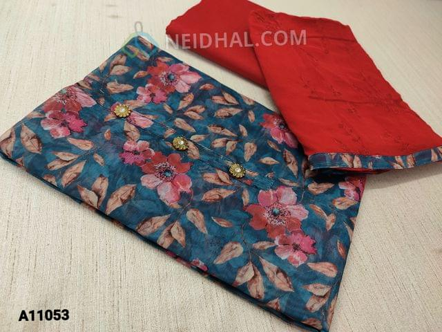 CODE A11053 :  Digital Floral Printed Blue Silk Cotton unstitched salwar material(requires lining) with buttons on yoke, red cotton bottom, embroidery work on red chiffon dupatta with tapings