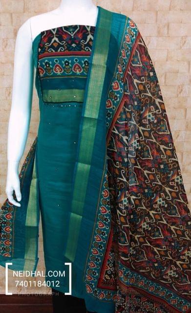 Blue Slub Cotton unstitched salwar material with digital print on yoke, black cotton bottom, digital printed silk cotton dupatta with zari border.(tapping requires)