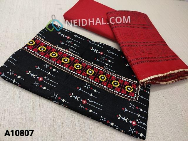 CODE A10807 :  Printed Black Cotton unstitched Salwar material(requires lining) with embroidery and real mirror work on yoke,  red cotton bottom, printed red short width cotton dupatta with tapings.