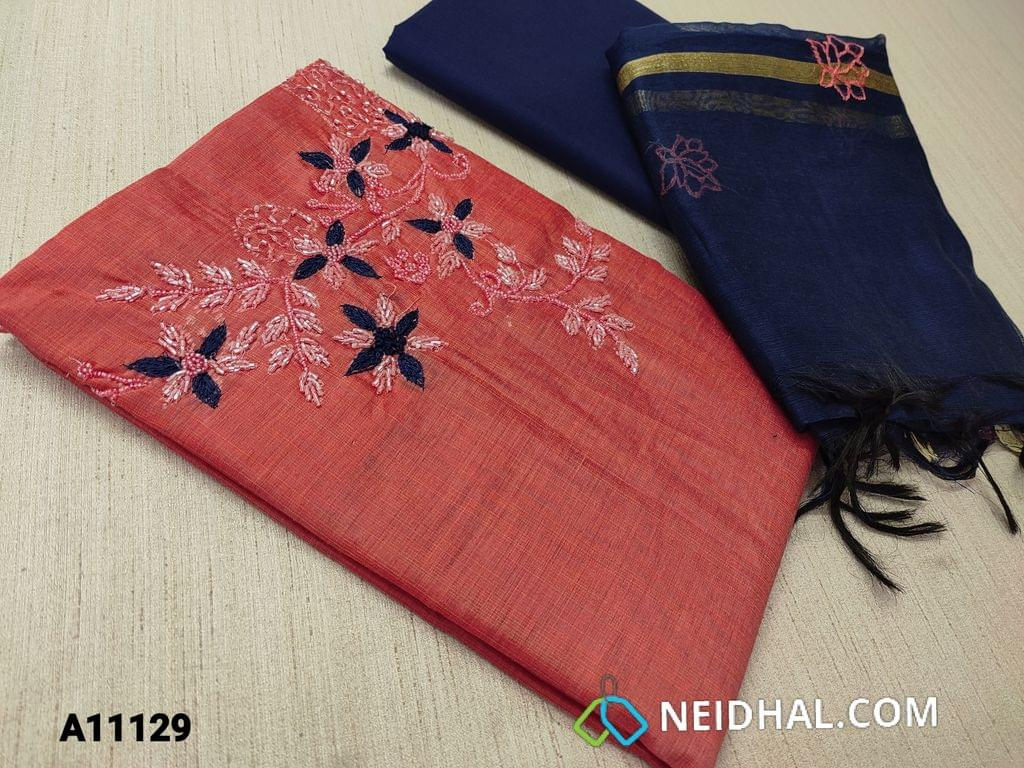 CODE A11129 : Redish Pink Silk Cotton unstitched Salwar material(requires lining) with pipe bead and thread work on yoke,  blue cotton bottom, embroidery work on silk cotton dupatta  with tassels