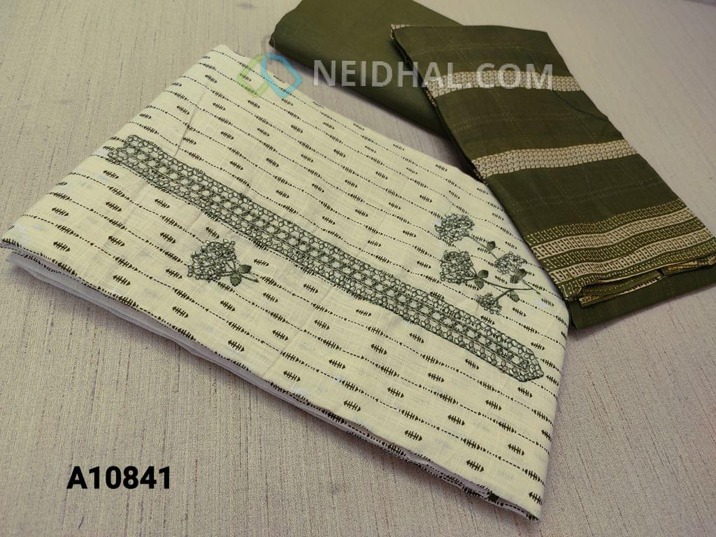 CODE A10841 :  Printed Cream Cotton unstitched Salwar material(requires lining) with embroidery work on yoke, taping at daman, green cotton bottom, printed mul cotton dupatta with tapings