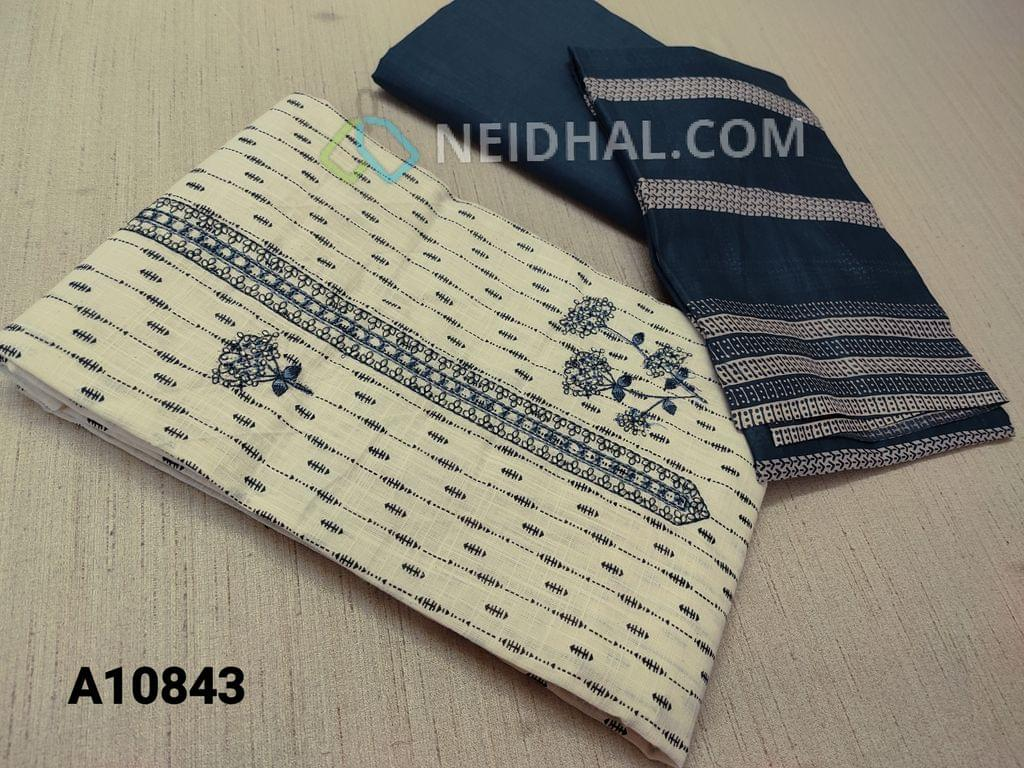 CODE A10843 :  Printed Cream Cotton unstitched Salwar material(requires lining) with embroidery work on yoke, taping at daman, blue cotton bottom, printed mul cotton dupatta with tapings