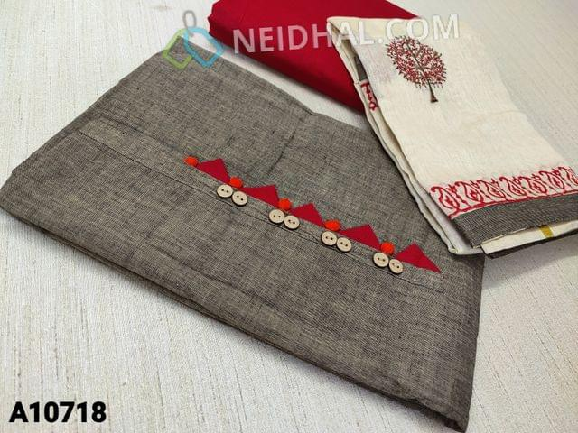 CODE A10718 : Brownish Grey kadhi Cotton unstitched salwar material(requires lining) with wodden buttons and potli buttons on yoke, red cotton bottom, embroidery work on silk cotton dupatta (requires taping)