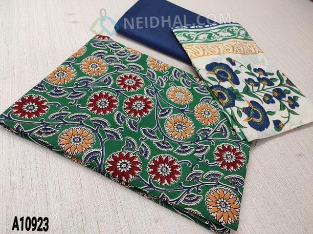 CODE A10923 : Kalamkari Printed Green Cotton unstitched Salwar material(requires lining) , blue cotton bottom, printed mul cotton dupatta(requires taping)