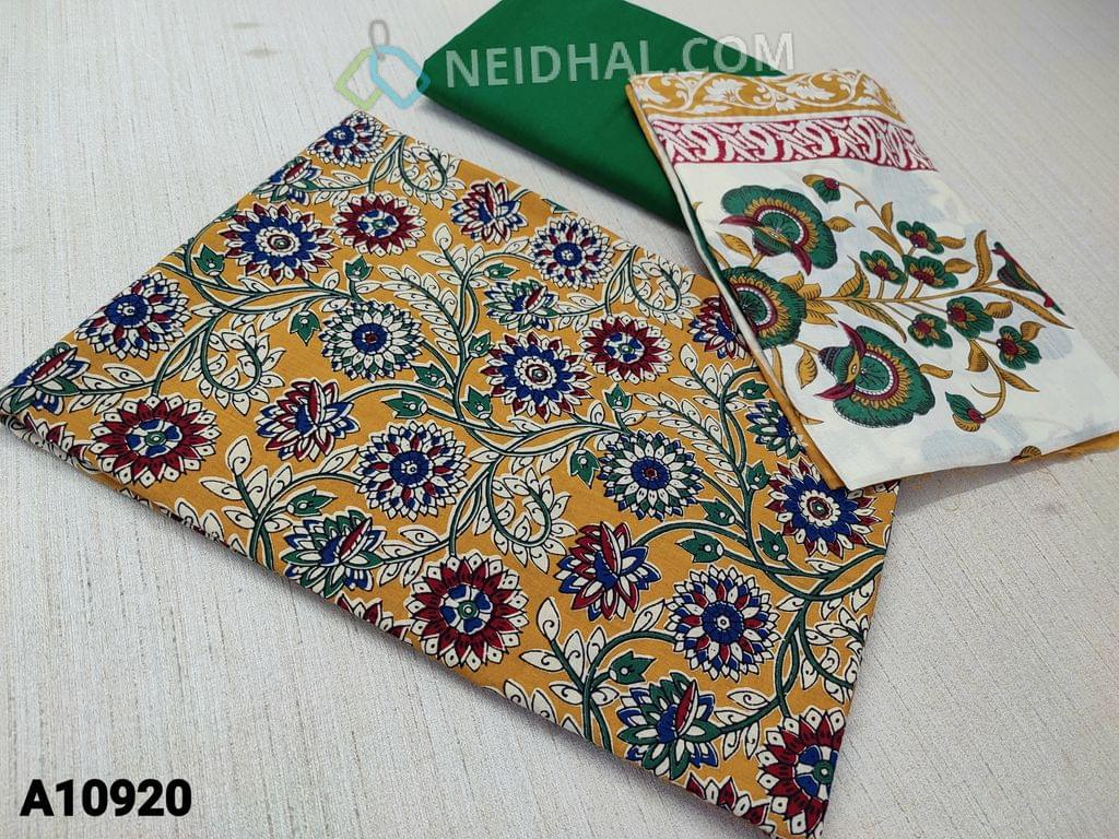 CODE A10920 : Kalamkari Printed Fenu greek Yellow Cotton unstitched Salwar material(requires lining) , green cotton bottom, printed mul cotton dupatta(requires taping)