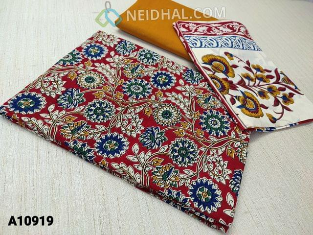 CODE A10919 : Kalamkari Printed  Red Cotton unstitched Salwar material(requires lining) , fenu greek yellow cotton bottom, printed mul cotton dupatta(requires taping)