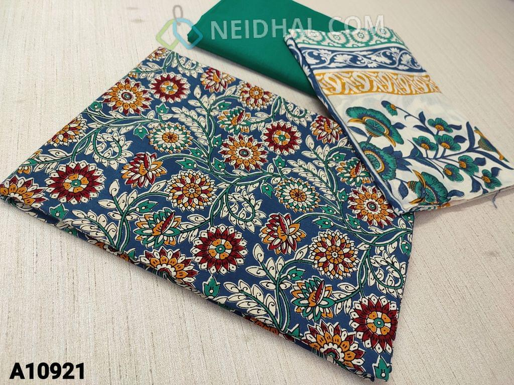 CODE A10921 : Kalamkari Printed  Blue Cotton unstitched Salwar material(requires lining) ,turquoise green cotton bottom, printed mul cotton dupatta(requires taping)