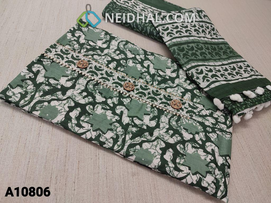 CODE A10806 : Batik Floral Printed Green soft  Cotton unstitched Salwar material(requires lining) with fancy buttons on yoke, printed cotton bottom, printed mul cotton dupatta with pom pom tapings.