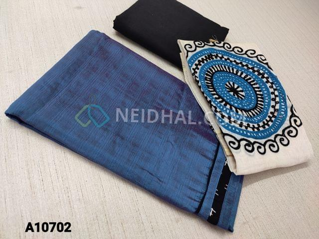 CODE  A10702 : Blue Silk Cotton Unstitched salwar material(requires lining) ,daman patch, black cotton bottom, embroidery work on silk cotton dupatt with tassels