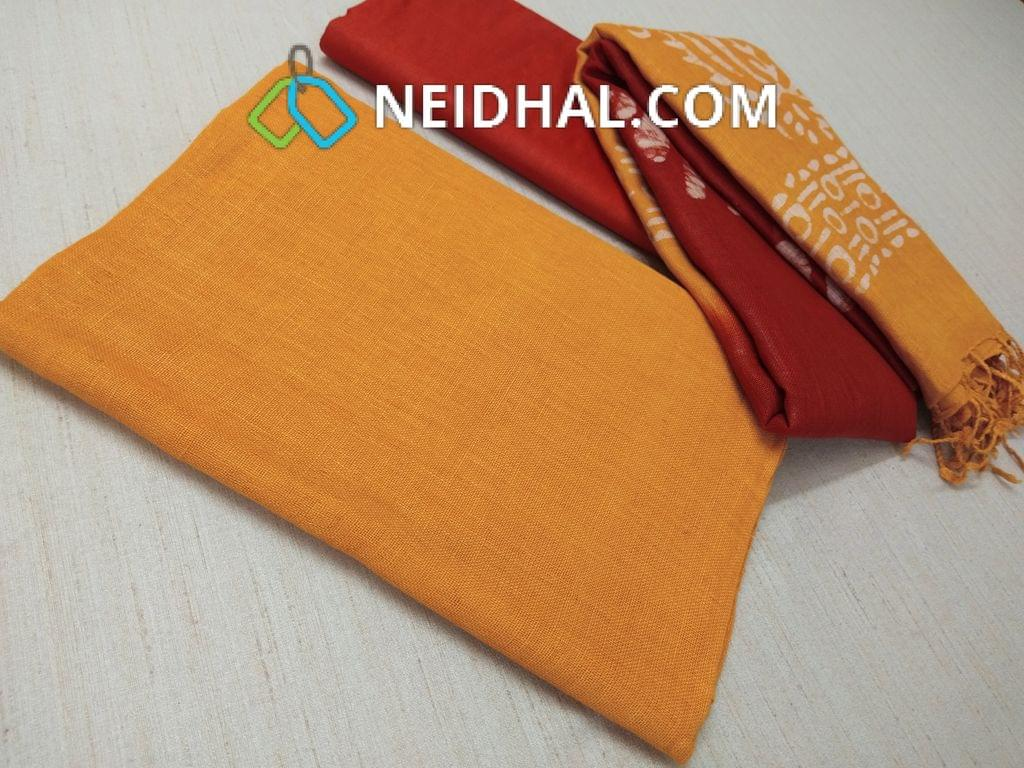 Designer Yellow Linen unstitched Salwar material(requries lining), Red soft silk thin bottom, Dual color Batik dyed Linen dupatta with tassels