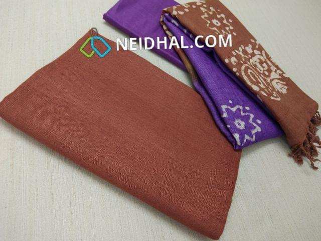 Designer Brown Linen unstitched Salwar material(requries lining), Purple soft silk thin bottom, Dual color Batik dyed Linen dupatta with tassels