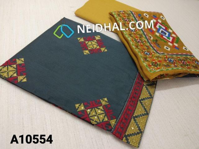 CODE A10554 : Grey Silk Cotton unstitched salwar material(requires lining) with thread and sequence work on front side, plain back side, daman patch, fenu greek yellow cotton bottom, digital printed silk cotton dupatta with tapings.