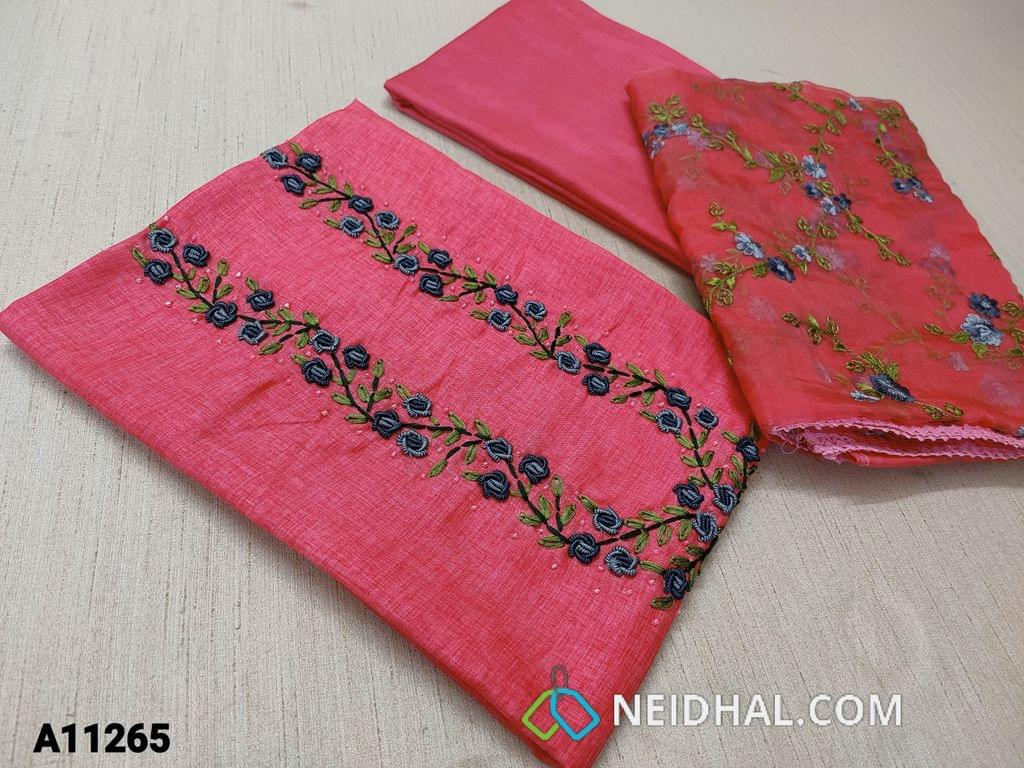 CODE A11265 : Designer Hot Pink Semi Tussar unstitched salwar material(requires lining) with bullion rose work, cut bead work on yoke, Hot Pink Tafetta bottom, embroidery work on organza dupatta with tassels