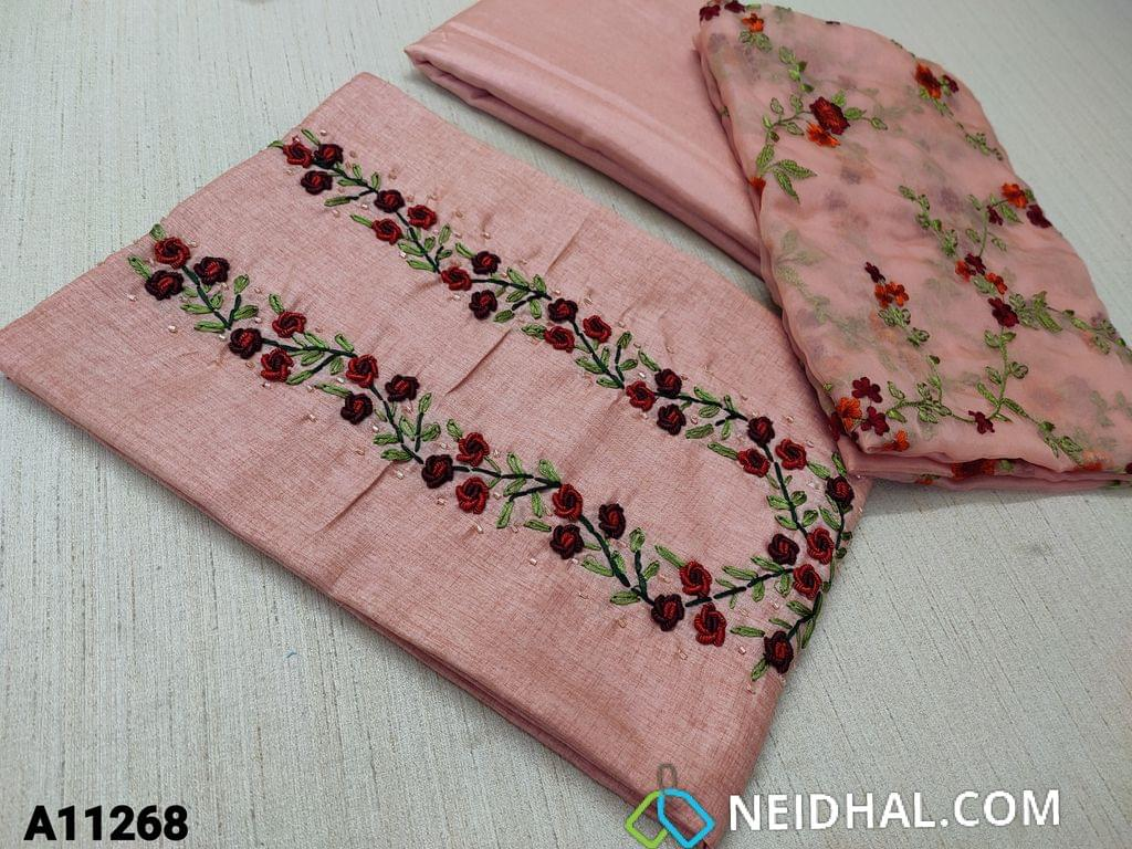 CODE A11268 : Designer Light Onion Pink Semi Tussar unstitched salwar material(requires lining) with bullion rose work, cut bead work on yoke, Light Onion Pink Tafetta bottom, embroidery work on organza dupatta with tassels