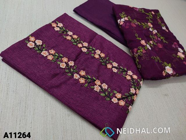 CODE A11264 : Designer Beetroot Purple Semi Tussar unstitched salwar material(requires lining) with bullion rose work, cut bead work on yoke, Beetroot Purple Tafetta bottom, embroidery work on organza dupatta with tassels
