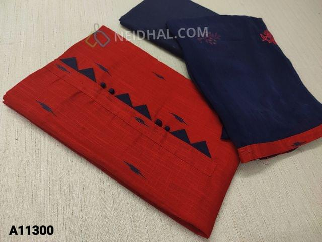 CODE  A11300 : Ikkat Printed Red Slub Cotton Unstitched salwar material(requires lining) with potli buttons on yoke, blue cotton bottom, embroidery work on chiffon dupatta with tapings