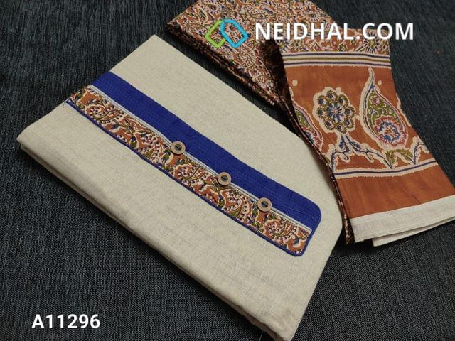CODE  A11296: Light Beige Kadhi Cotton Unstitched salwar material(requires lining) with kalamkari patch work and wodden buttons on yoke, kalamkari printed brown cotton bottom, kalamkari printed mul cotton dupatta with tapings.