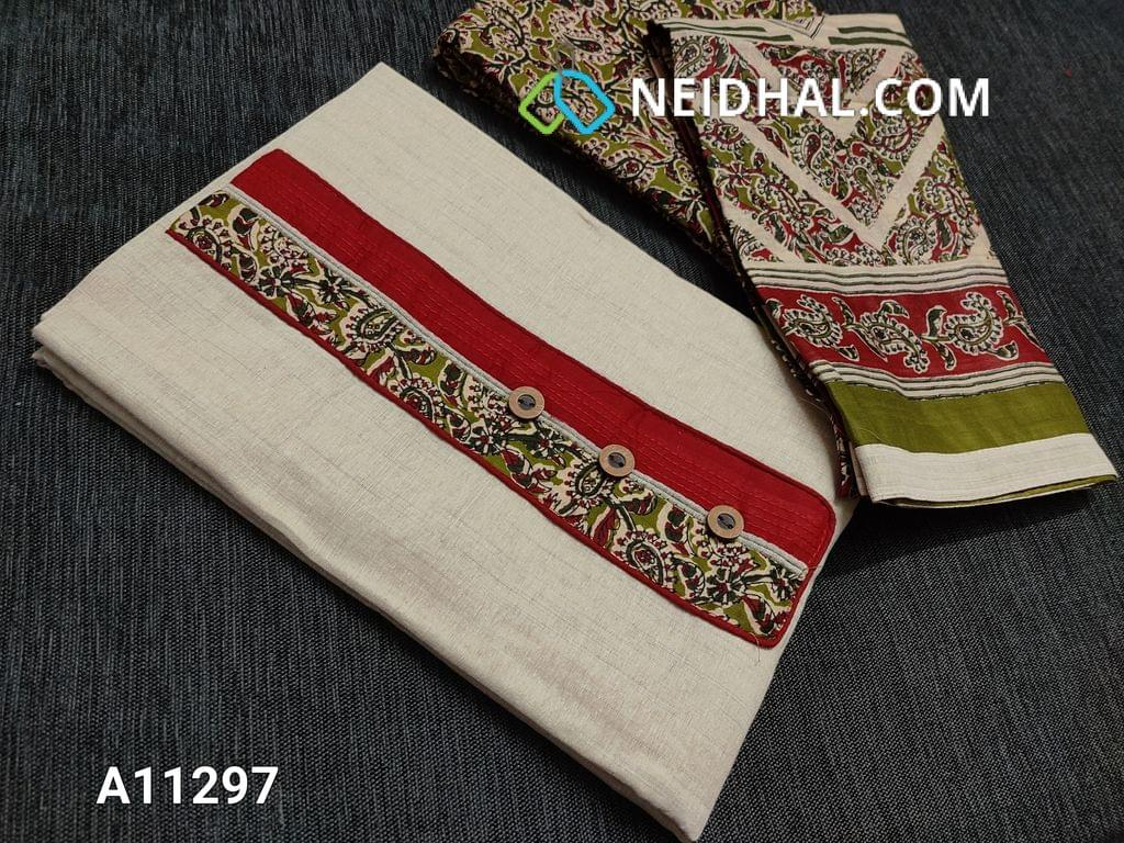 CODE A11297 : Light Beige Kadhi Cotton Unstitched salwar material(requires lining) with kalamkari patch work and wodden buttons on yoke, kalamkari printed green cotton bottom, kalamkari printed mul cotton dupatta with tapings.