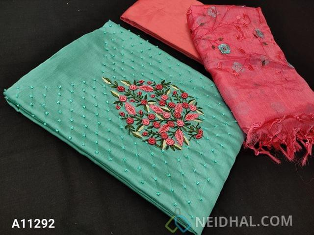 CODE A11292 :Designer Aqua Blue Silk Cotton Unstitched salwar material(requires lining) with colorful embroidery and french knot work on yoke, pink silk cotton bottom, embroidery work on organza dupatta with tapings