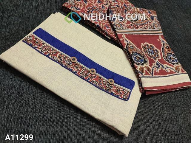 CODE A11299 : Light Beige Kadhi Cotton Unstitched salwar material(requires lining) with kalamkari patch work and wodden buttons on yoke, kalamkari printed red cotton bottom, kalamkari printed mul cotton dupatta with tapings.