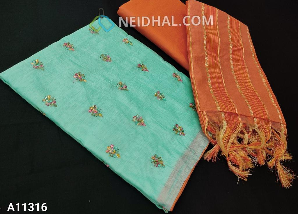 CODE A11316  :  Aqua Green Silk Cotton unstitched salwar material(requires lining) with colorful embroidery and sequence work on front side, plain back side, orange silk cotton bottom, thread woven work on silk cotton dupatta with tassels.