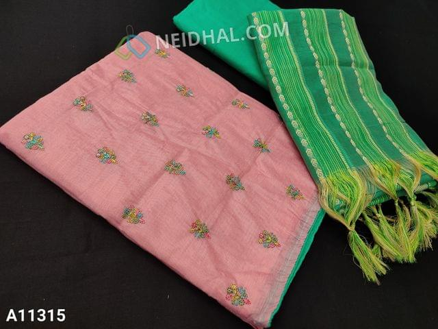 CODE A11315  :  Peach Silk Cotton unstitched salwar material(requires lining) with colorful embroidery and sequence work on front side, plain back side, green silk cotton bottom, thread woven work on silk cotton dupatta with tassels.